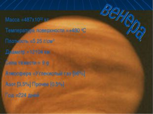 * Масса =487x1022 кг Температура поверхности =+480 оС Плотность =5.25 г/см3 Д