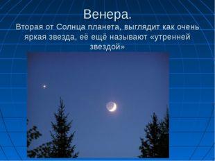 Венера. Вторая от Солнца планета, выглядит как очень яркая звезда, её ещё наз