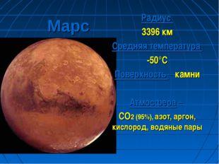 Марс Радиус 3396 км Средняя температура -50°С Поверхность – камни Атмосфера –