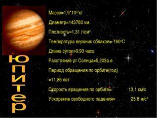 * Maccа=1,9*1027кг Диаметр=143760 км. Плотность=1,31 г/см3 Температура верхни