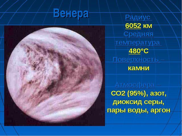 Радиус 6052 км Средняя температура 480°С Поверхность – камни Атмосфера – СО2...