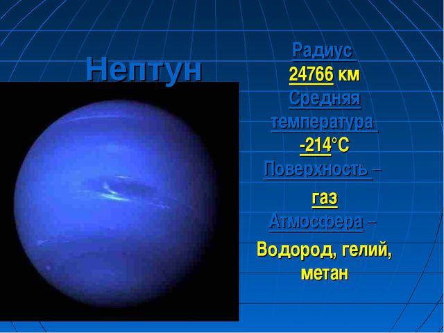 Нептун Радиус 24766 км Средняя температура -214°С Поверхность – газ Атмосфера...