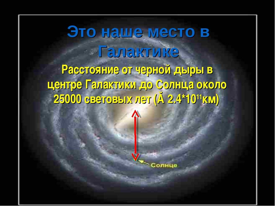 Это наше место в Галактике Расстояние от черной дыры в центре Галактики до Со...