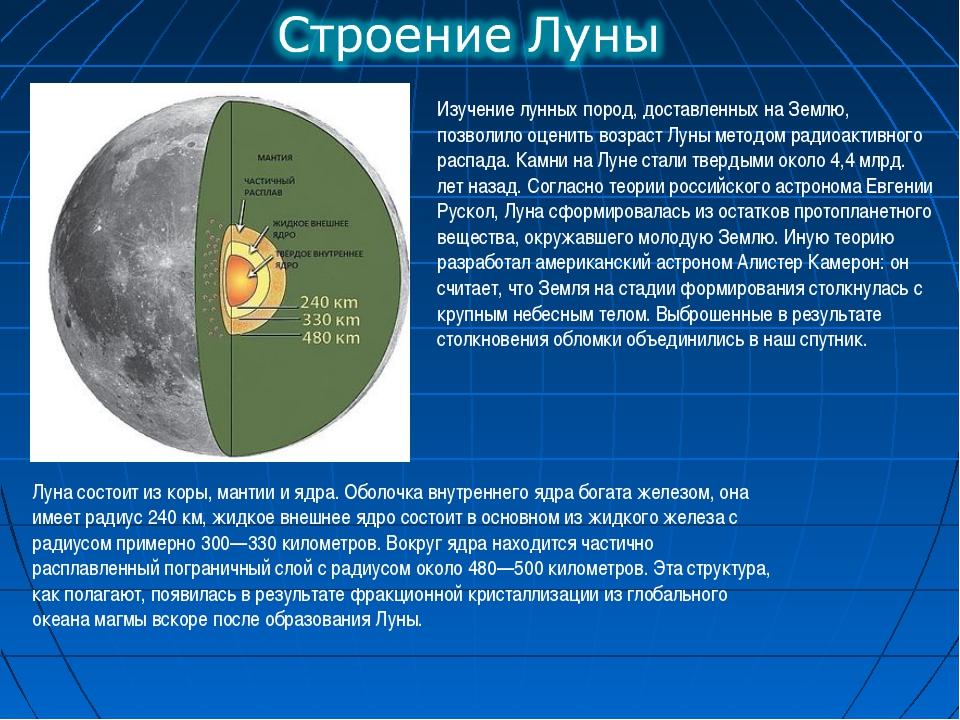 Изучение лунных пород, доставленных на Землю, позволило оценить возраст Луны...
