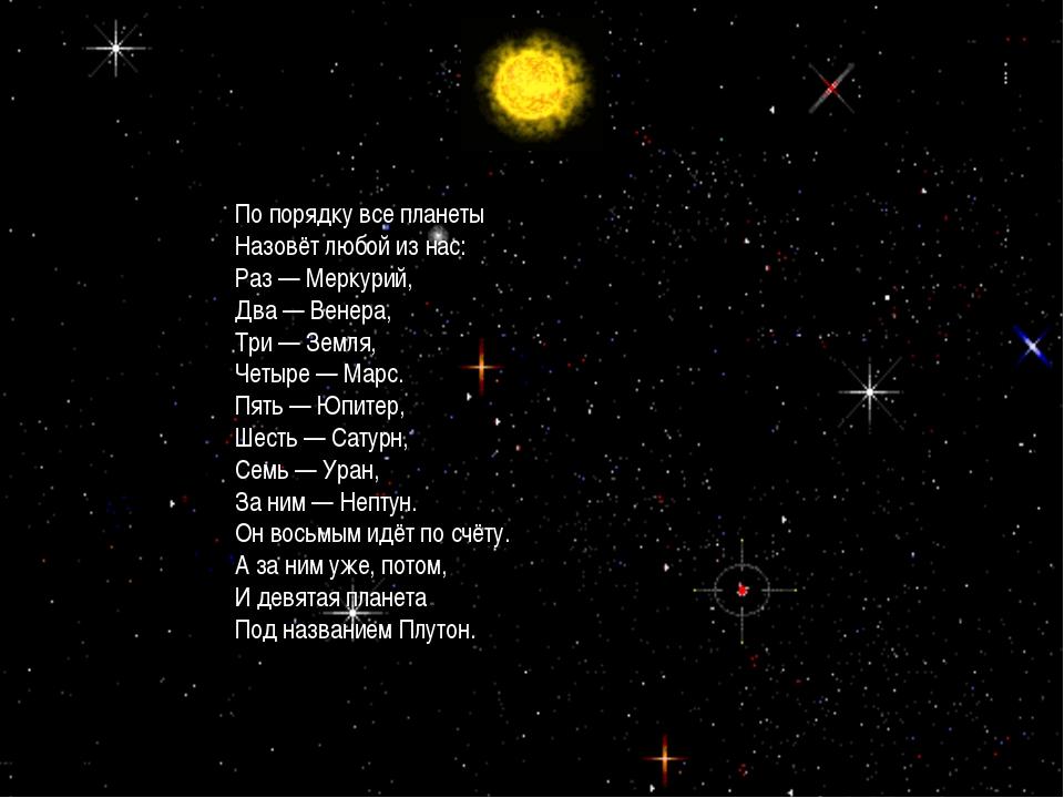 * По порядку все планеты Назовёт любой из нас: Раз — Меркурий, Два — Венера,...