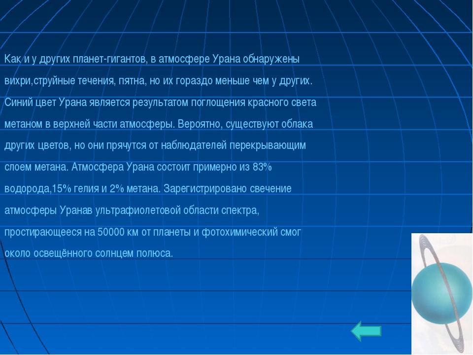 * Как и у других планет-гигантов, в атмосфере Урана обнаружены вихри,струйные...