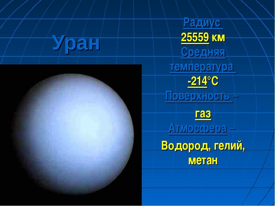 Уран Радиус 25559 км Средняя температура -214°С Поверхность – газ Атмосфера –...