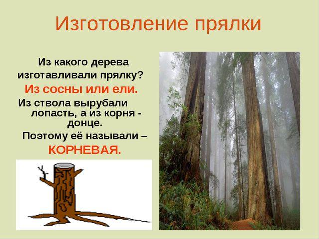 Из какого дерева изготавливали прялку? Из сосны или ели. Из ствола вырубали...