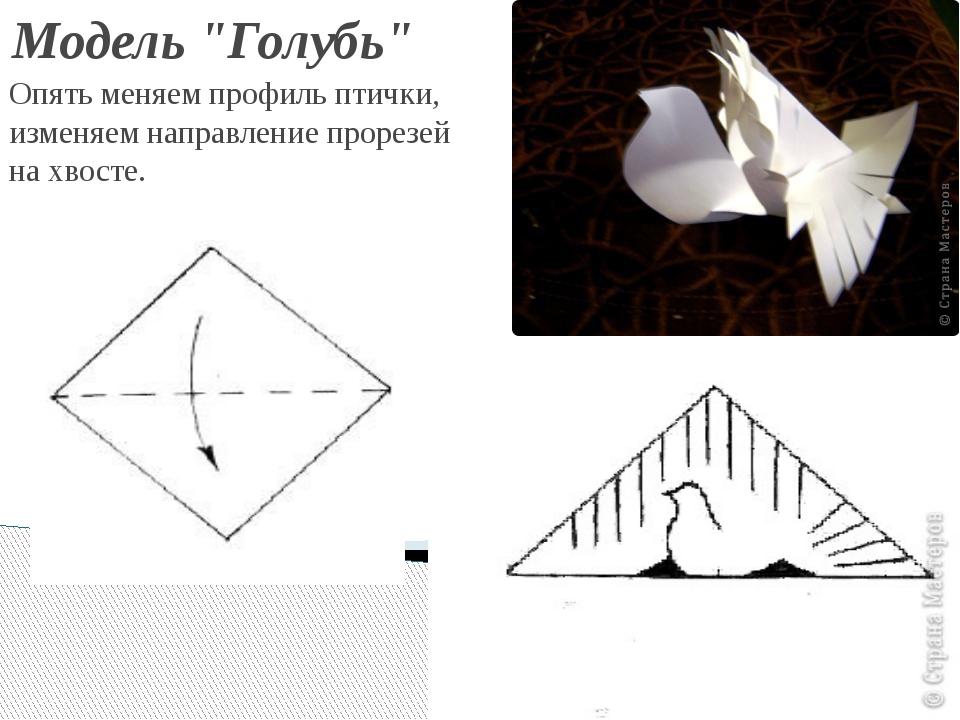 """Модель """"Голубь"""" Опять меняем профиль птички, изменяем направление прорезей н..."""