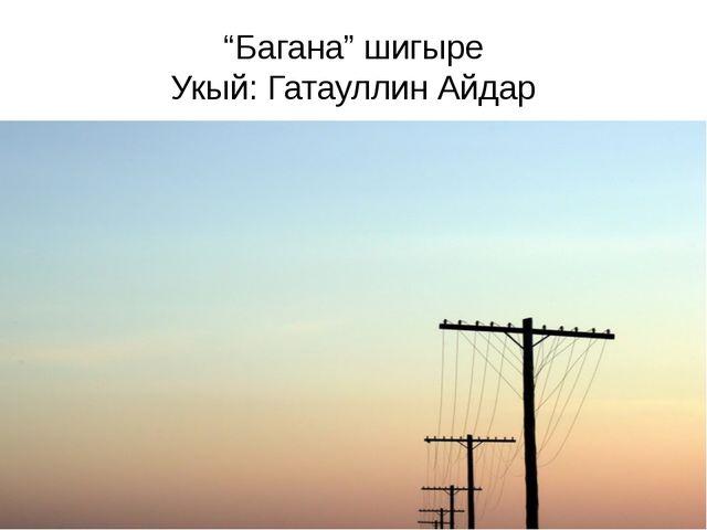 """""""Багана"""" шигыре Укый: Гатауллин Айдар"""