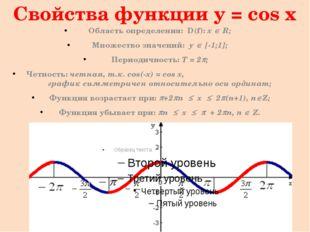Свойства функции y = cos x (продолжение) Функция принимает значения: Равные н