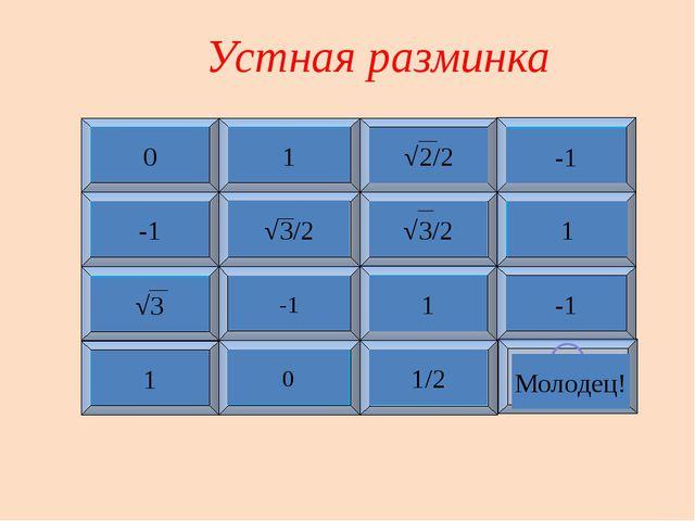 Устная разминка 1 2 3 4 5 6 7 8 9 10 11 12 13 14 15 ☺ cos90° sin90° sin(π/4)...