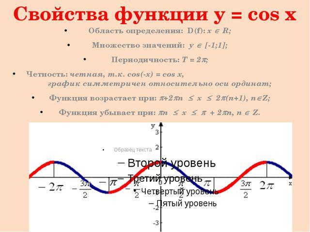 Свойства функции y = cos x (продолжение) Функция принимает значения: Равные н...