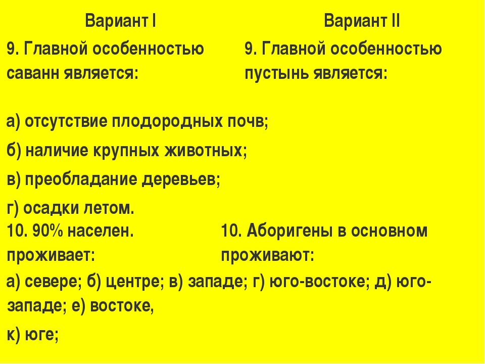 Вариант IВариант II 9. Главной особенностью саванн является:9. Главной особ...