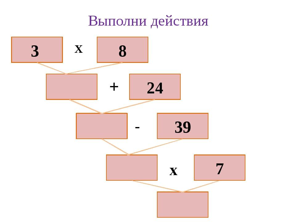 Выполни действия 39 7 24 8 3 х + - х
