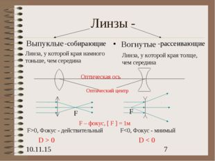 Линзы - Вогнутые Выпуклые Линза, у которой края намного тоньше, чем середина
