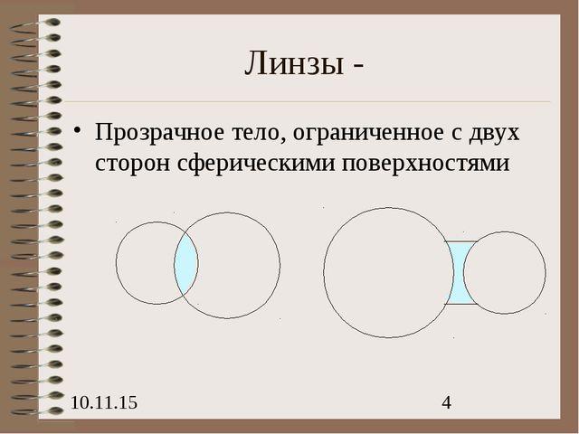 Линзы - Прозрачное тело, ограниченное с двух сторон сферическими поверхностями