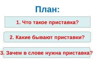План: 1. Что такое приставка? 2. Какие бывают приставки? 3. Зачем в слове нуж