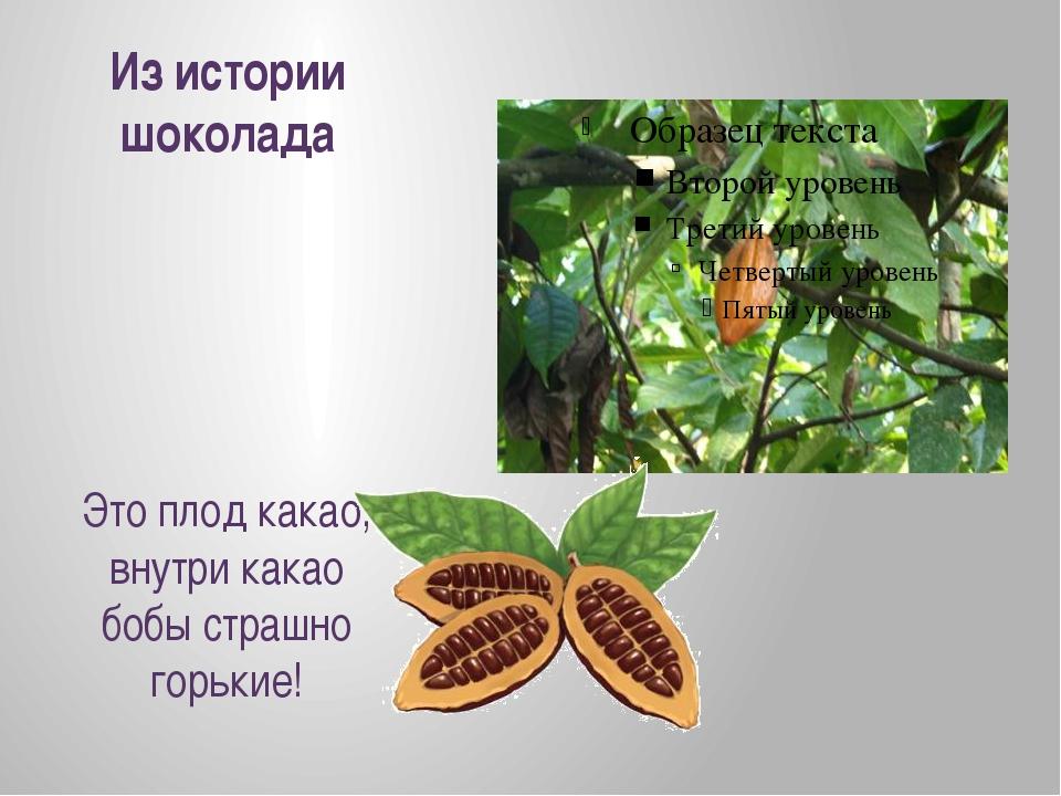 Из истории шоколада Это плод какао, внутри какао бобы страшно горькие!