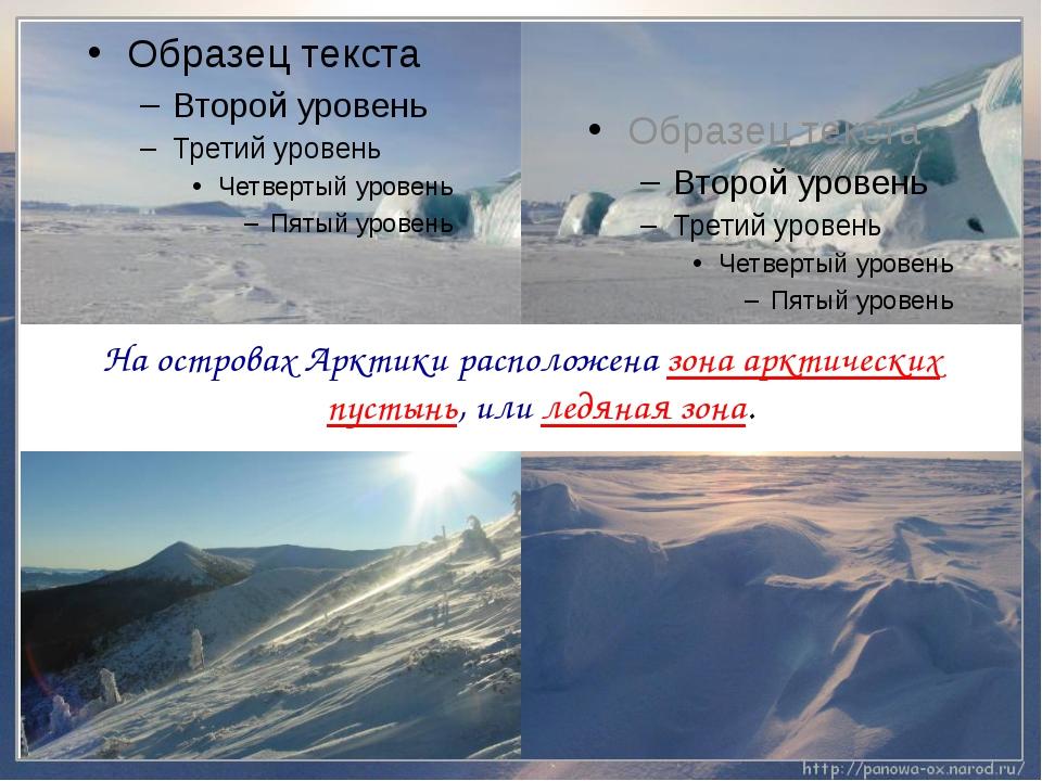 На островах Арктики расположена зона арктических пустынь, или ледяная зона.