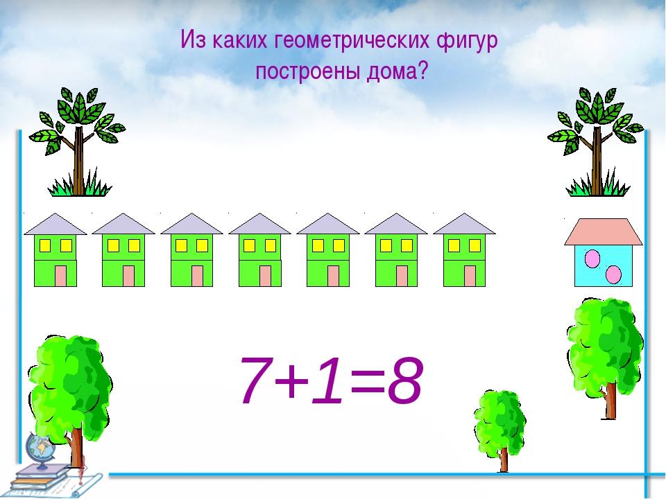 7+1=8 Из каких геометрических фигур построены дома? Как получили 8?