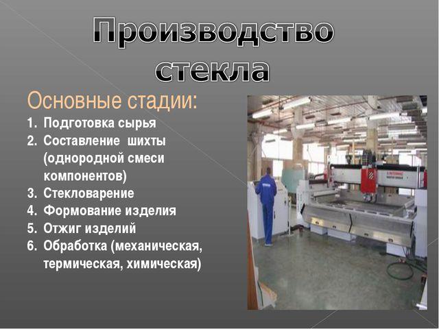 Основные стадии: Подготовка сырья Составление шихты (однородной смеси компоне...