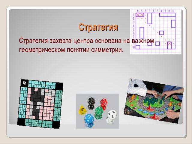 Стратегия Стратегия захвата центра основана на важном геометрическом понятии...