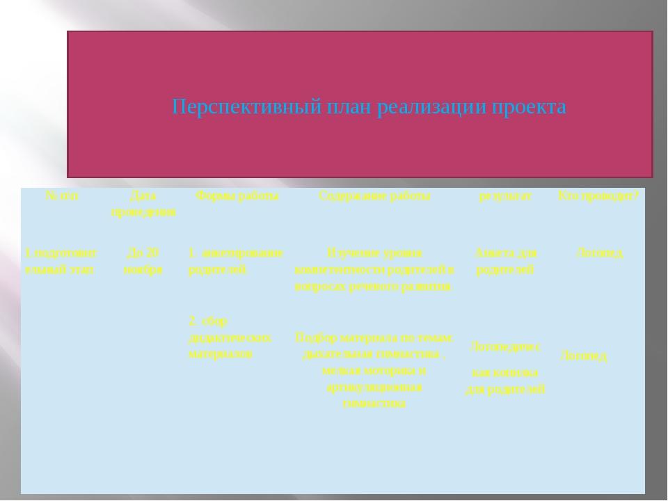 Перспективный план реализации проекта    Перспективный план реализации проекта