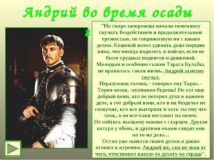 """Андрий во время осады города """"Но скоро запорожцы начали понемногу скучать без"""