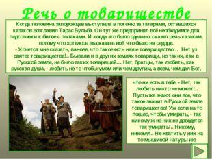 Речь о товариществе Когда половина запорожцев выступила в погоню за татарами,