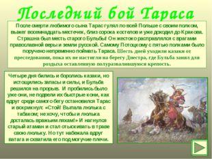 Последний бой Тараса После смерти любимого сына Тарас гулял по всей Польше с