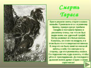 Смерть Тараса Бульбы Враги решили сжечь старого казака живьём. Привязали его