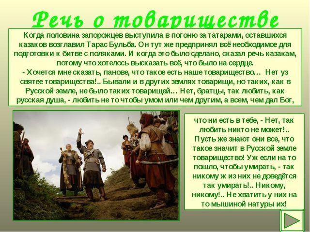 Речь о товариществе Когда половина запорожцев выступила в погоню за татарами,...