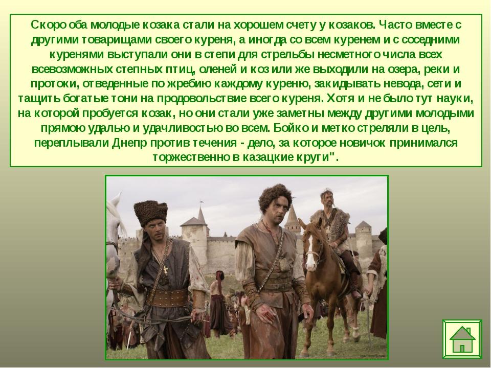 Скоро оба молодые козака стали на хорошем счету у козаков. Часто вместе с дру...