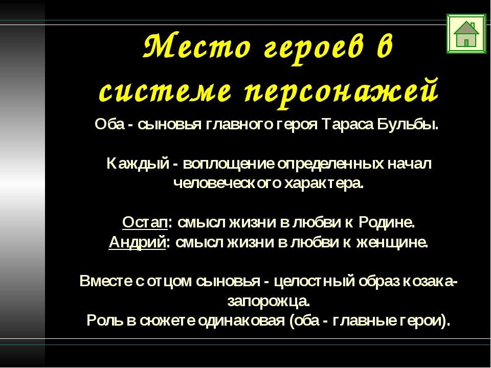 Место героев в системе персонажей Оба - сыновья главного героя Тараса Бульбы....