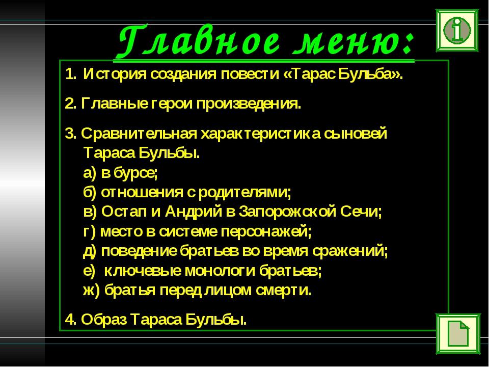 Главное меню: История создания повести «Тарас Бульба». 2. Главные герои произ...
