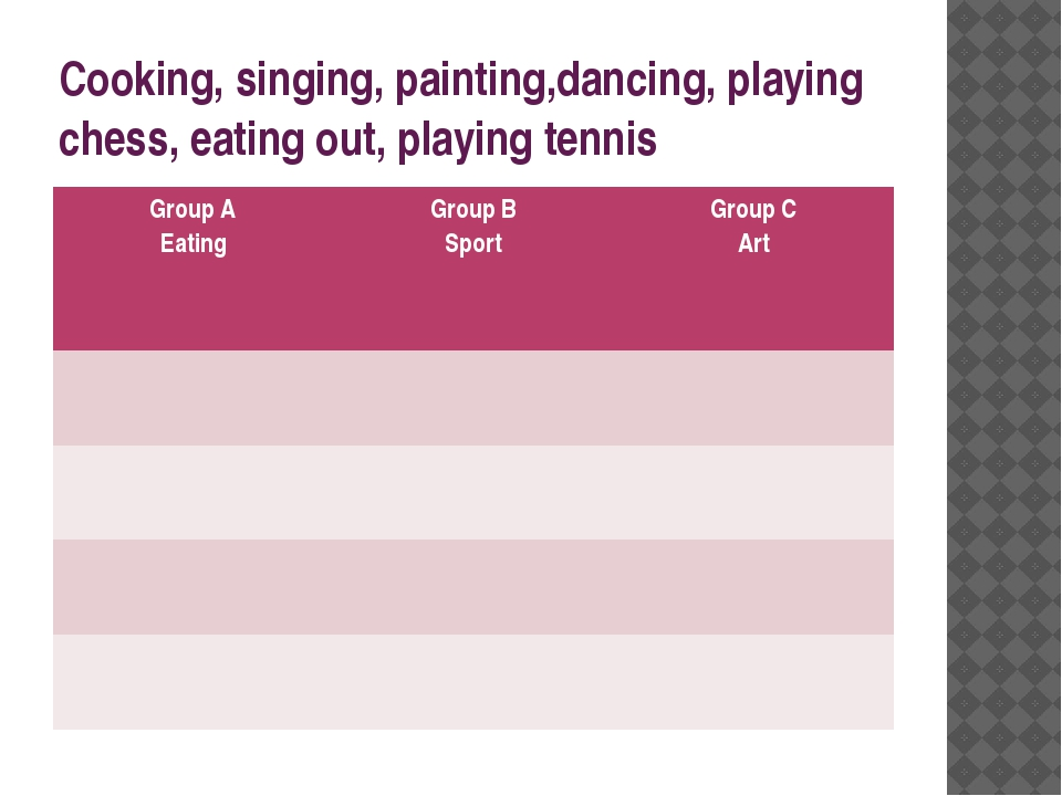 Cooking, singing, painting,dancing, playing chess, eating out, playing tennis...