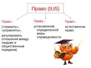 Право (IUS) Право - установление определенной меры справедливости Право - («п