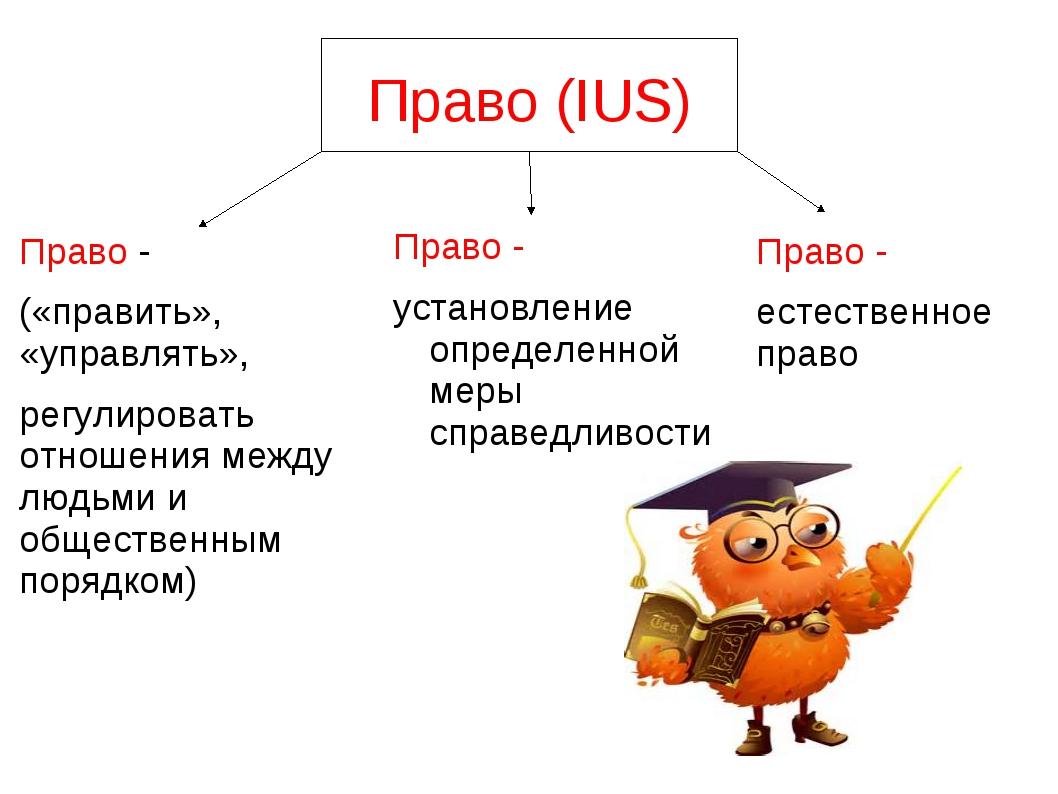 Право (IUS) Право - установление определенной меры справедливости Право - («п...