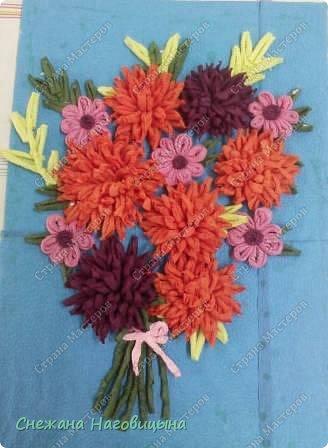 Картина панно рисунок Гофротрубочки Цветы из гофротрубочек Салфетки фото 1