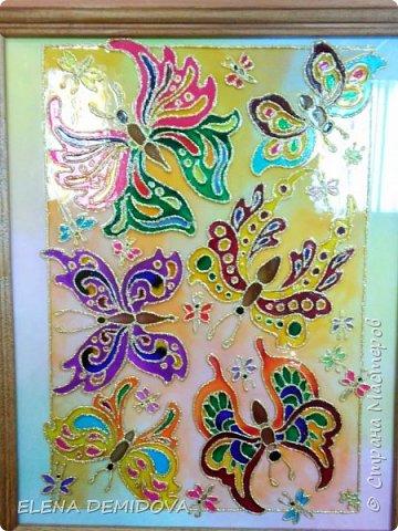 Картина панно рисунок Витраж Чудо - БАБОЧКИ Краска Стекло фото 1