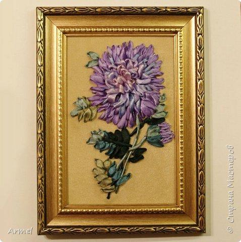 Картина панно рисунок Вышивка Вышивка лентами Хризантема Ленты