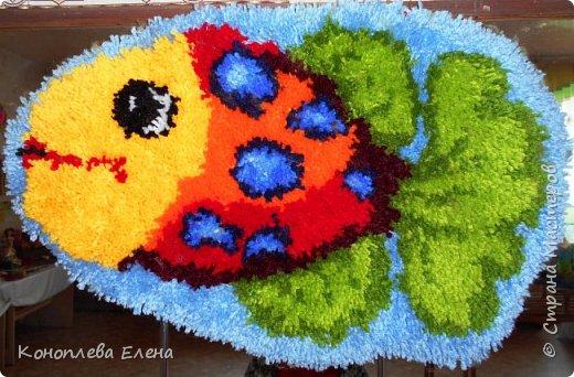Интерьер Вышивка ковровая Коврик Рыбка Канва Пряжа