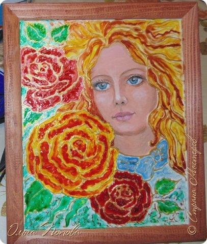Картина панно рисунок Витраж Рисование и живопись Роза Краска фото 1