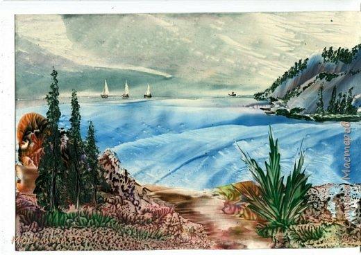 Картина панно рисунок Энкаустика Красоты выполненные утюгом в морском стиле Воск парафин фото 1
