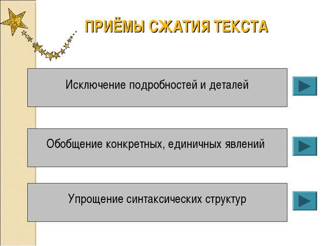 ПРИЁМЫ СЖАТИЯ ТЕКСТА Исключение подробностей и деталей Обобщение конкретных,...