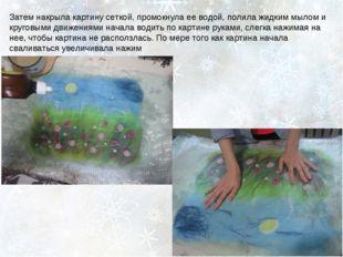 Затем накрыла картину сеткой, промокнула ее водой, полила жидким мылом и круг