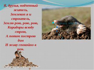 Я, друзья, подземный житель, Землекоп я и строитель, Землю рою, рою, рою, Ко
