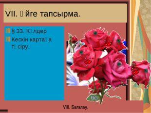 VII. Үйге тапсырма. § 33. Көлдер Кескін картаға түсіру. VIII. Бағалау.