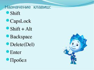 Назначение клавиш: Shift CapsLock Shift + Alt Backspace Delete(Del) Enter Про